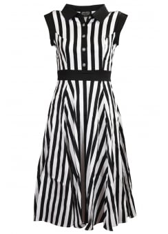 Black & White Striped Tea Dress