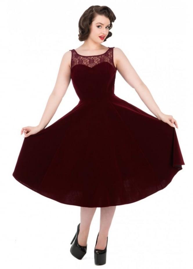 H&R London Burgundy Velvet Romance Dress