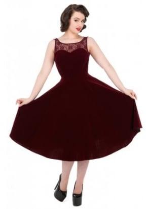 Burgundy Velvet Romance Dress