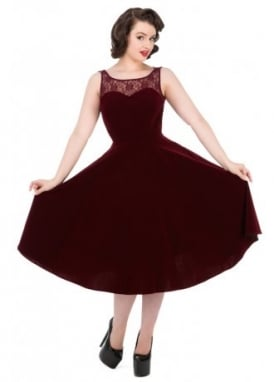 Burgundy Velvet Romance Retro Dress