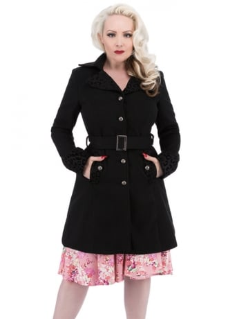 H&R London Flocked Retro Coat