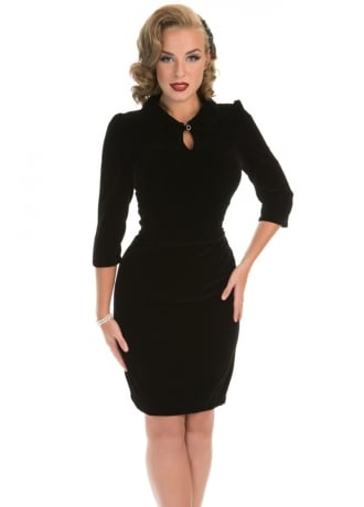 H&R London Glamorous Retro Velvet Wiggle Dress