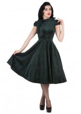 Green Velvet Flocked Tea Dress
