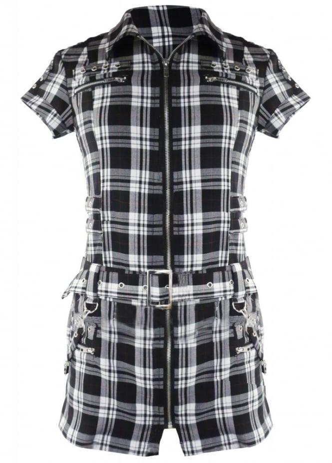 H&R London Tartan Biker Shirt Dress