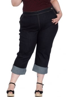 Charlie Retro Plus Size Denim Capris