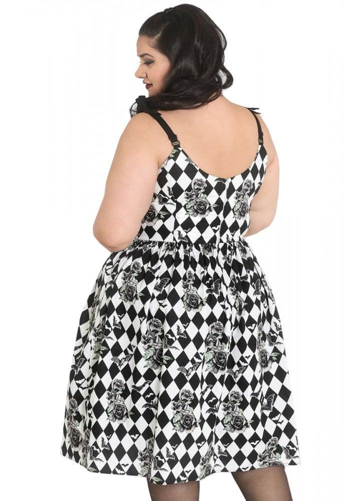 Hauntly Bats & Roses Plus Size 50s Dress