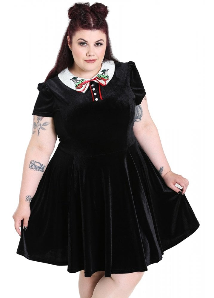 Hell Bunny Nightshade Gothic Plus Size Mini Dress Attitude Clothing