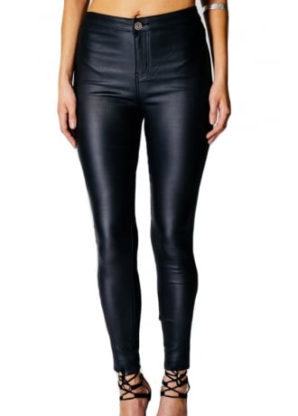 High Waisted Leather Look Jeggings
