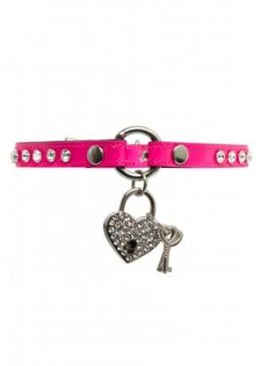 Hot Pink Rhinestone Heart Lock Bondage Choker