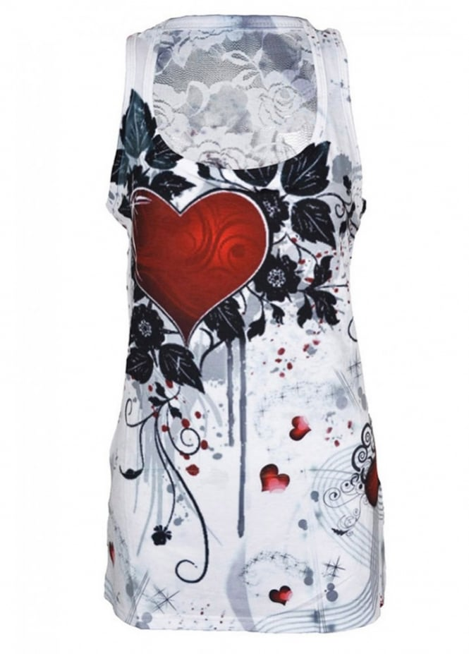 Innocent Clothing Rose Heart Lace Panel Vest