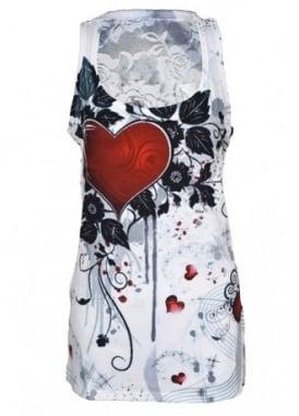 Rose Heart Lace Panel Vest