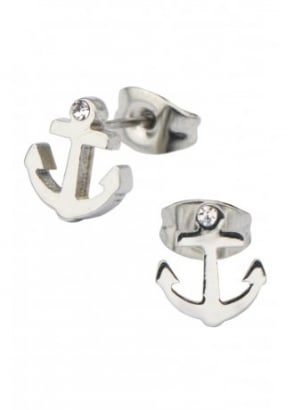 Anchor Gem Stud Earrings