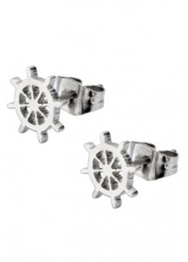 Boat Helm Cut Out Stud Earrings