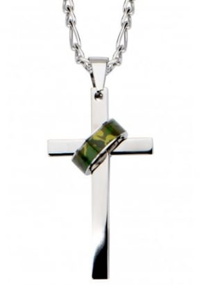 Camo Army Ring Cross Necklace