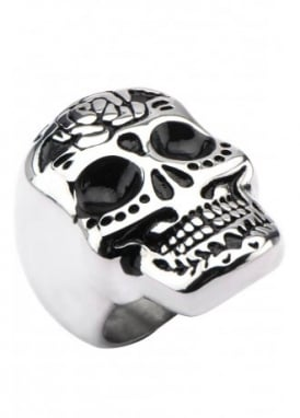 Flower Sugar Skull Ring