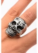 Inox Jewelry Flower Sugar Skull Ring