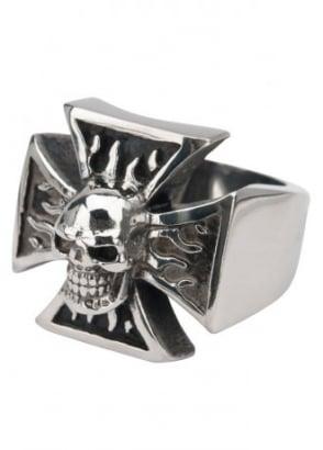 Iron Cross Skull Ring