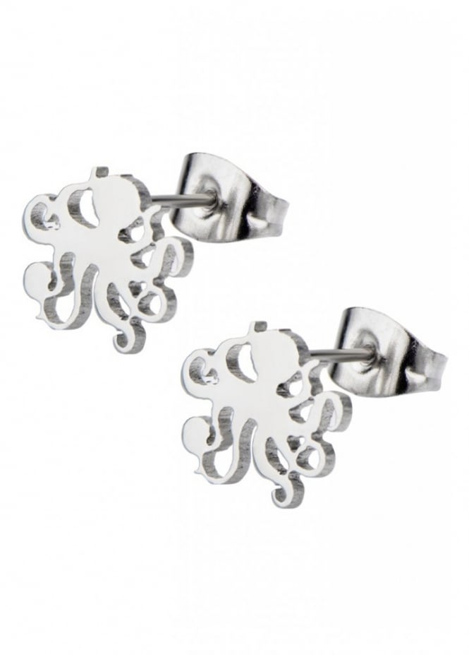 Inox Jewelry Octopus Cut Out Stud Earrings