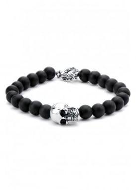 Onyx Bead Skull Bracelet