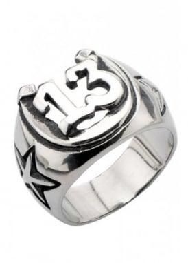 Oxidized Lucky 13 Horseshoe Ring