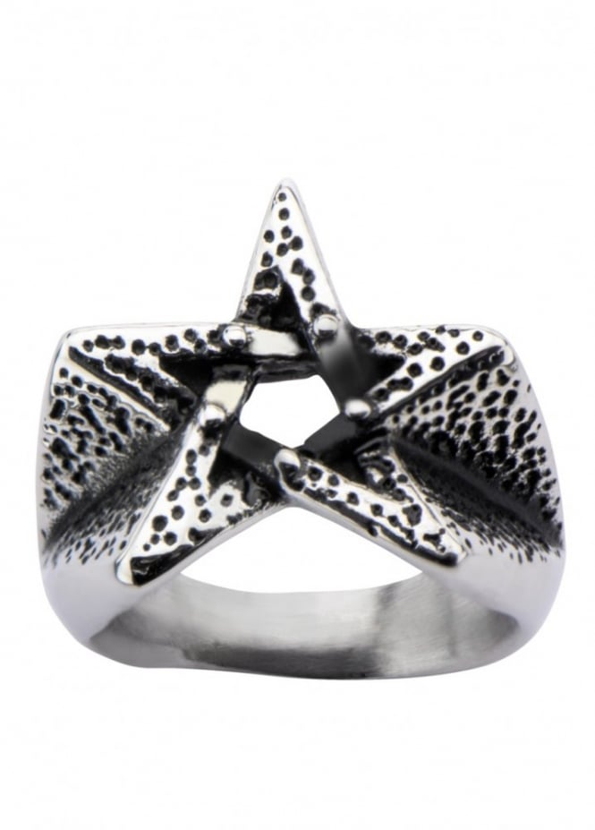 Inox Jewelry Oxidized Pentagram Ring