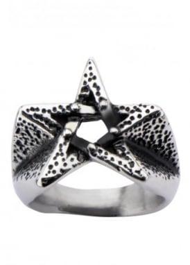 Oxidized Pentagram Ring