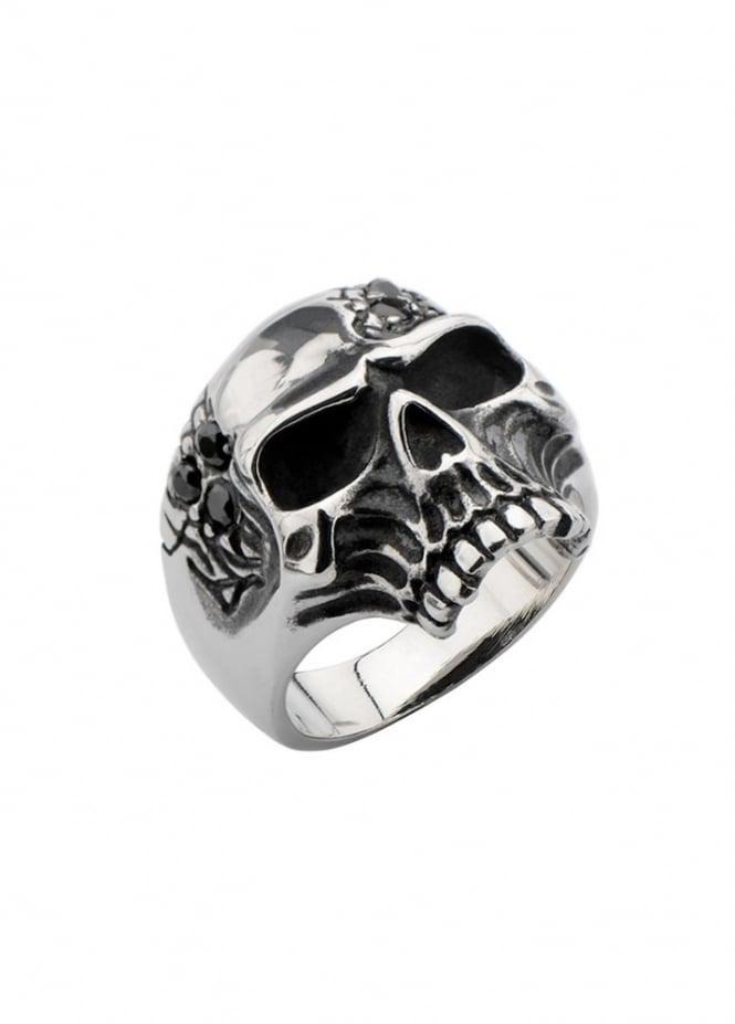 Inox Jewelry Oxidized Skull Ring
