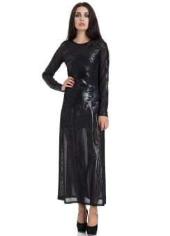 Black Hearted Veins Gothic Maxi Dress