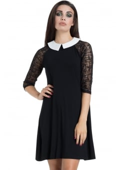 Wednesday Mesh Sleeve Gothic Dress