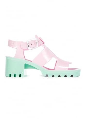 JuJu Baby Pink Green Kyra Jelly Shoe