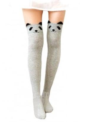 Kawaii Panda Face Knee High Socks