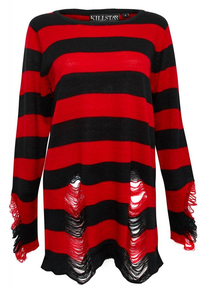Kill Star Krueger Distressed Knit Sweater Attitude Clothing
