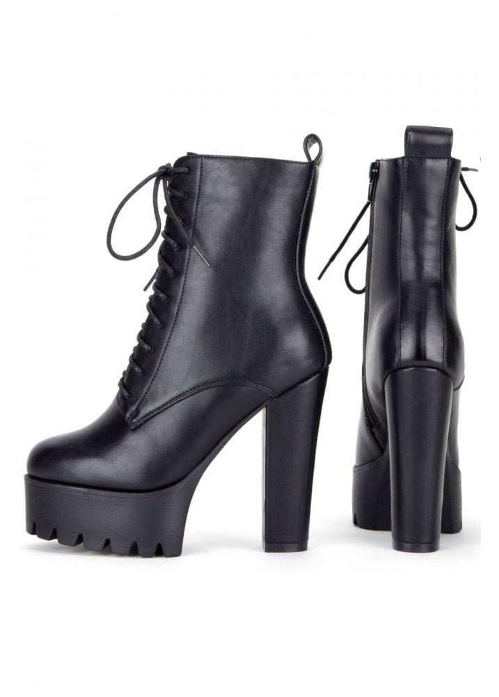 Hell Yeah High Heel Lace Up Boots