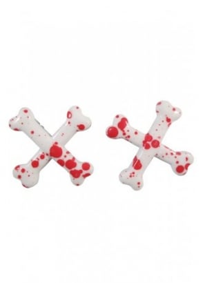 Crossbones Blood Splatter Hair Slides