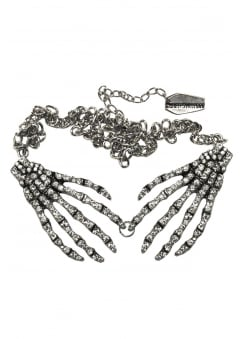 Diamante Skeleton Hand Necklace