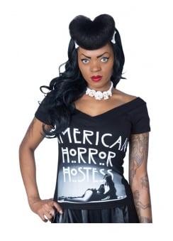Elvira American Horror V Shoulder Tee