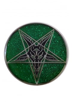 Glitter Goathead Baphomet Pin Badge