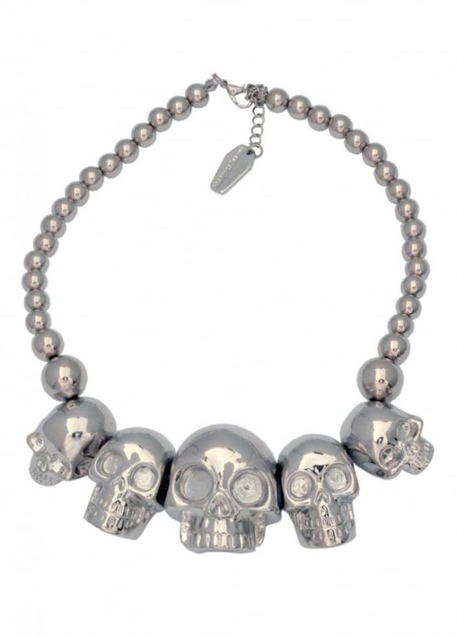 Kreepsville 666 Metallic Silver Skull Collection Necklace