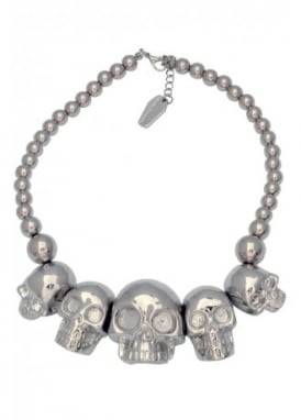 Metallic Silver Skull Collection Necklace