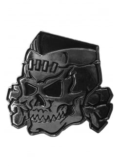Psycho Stitched Skull Chrome Enamel Pin