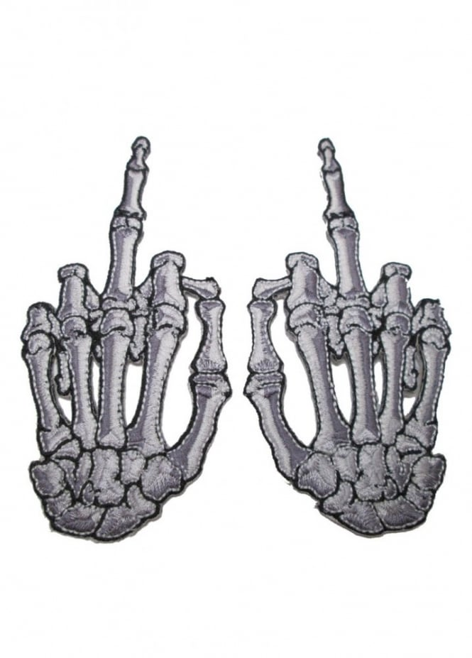Kreepsville 666 Skelli Hand Finger Bone Patch Pair