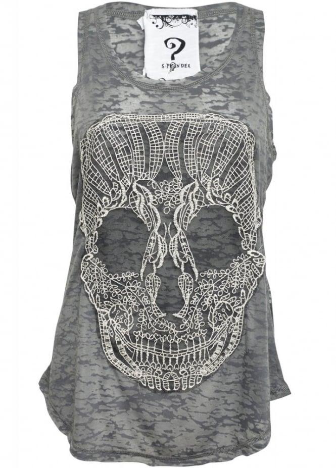Lace Skull Burnout Vest