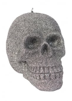 Large Glitter Skull Candle