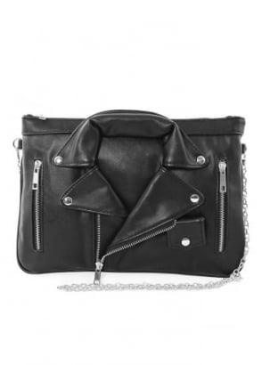 Leather Biker Jacket Shoulder Bag