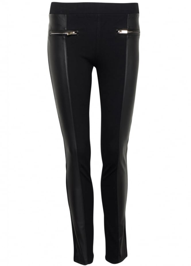 Leather Look Panel Jeggings