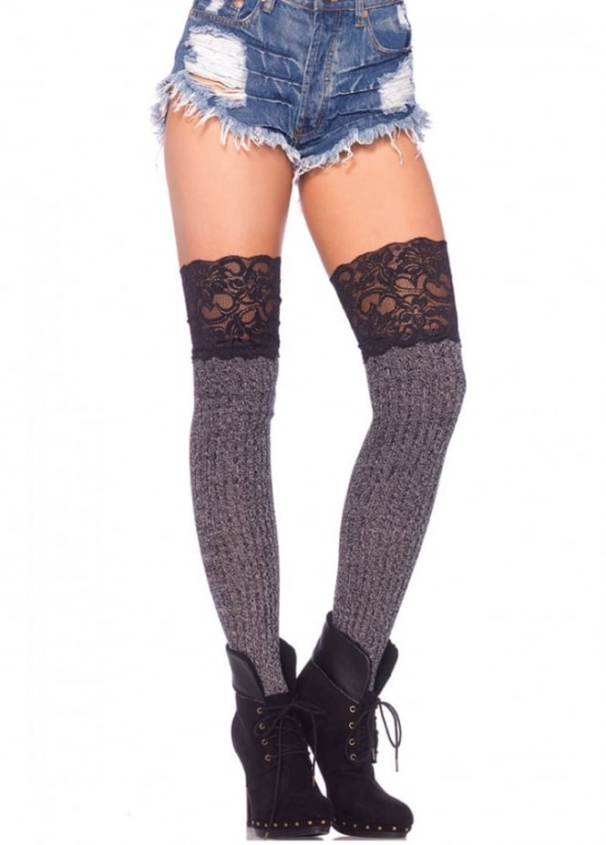 Leg Avenue Ribbed Knit Over The Knee Slouch Lace Top Socks