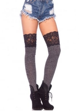 Ribbed Knit Over The Knee Slouch Lace Top Socks