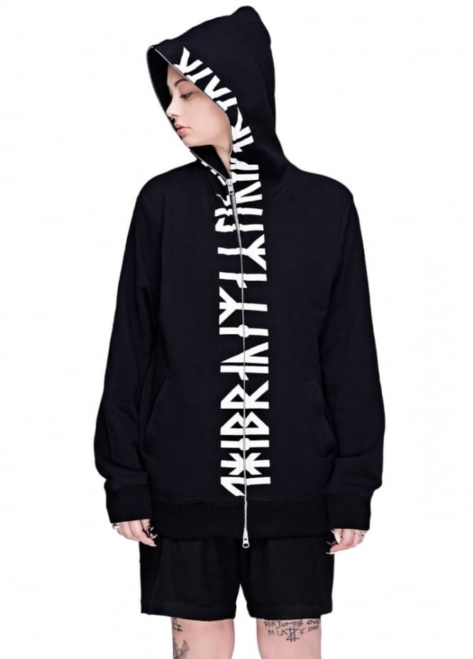 Long Clothing Runic Zip Up Hooded Top