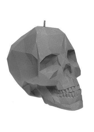 Matte Grey Poly-Skull Candle
