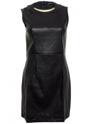 Metal Detail Leather Look Dress